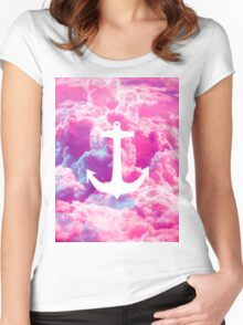 Girly Nautical Anchor Bright Pink Clouds Sky Women's Fitted Scoop T-Shirt