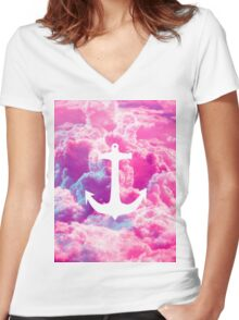 Girly Nautical Anchor Bright Pink Clouds Sky Women's Fitted V-Neck T-Shirt