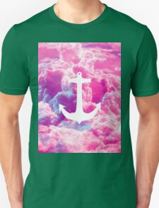Girly Nautical Anchor Bright Pink Clouds Sky Unisex T-Shirt
