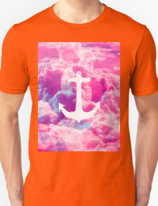Girly Nautical Anchor Bright Pink Clouds Sky T-Shirt