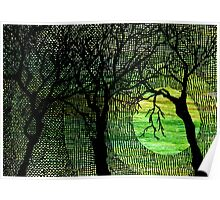 Cross Hatched Tree Green Watercolors Poster