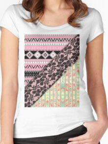 Abstract Pink Orange Aztec Black Girly Floral Lace Women's Fitted Scoop T-Shirt