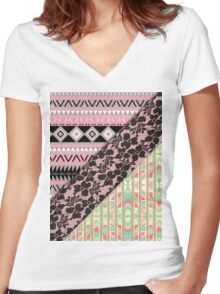 Abstract Pink Orange Aztec Black Girly Floral Lace Women's Fitted V-Neck T-Shirt