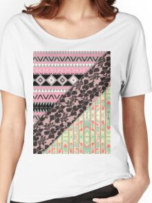 Abstract Pink Orange Aztec Black Girly Floral Lace Women's Relaxed Fit T-Shirt