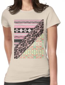Abstract Pink Orange Aztec Black Girly Floral Lace Womens Fitted T-Shirt