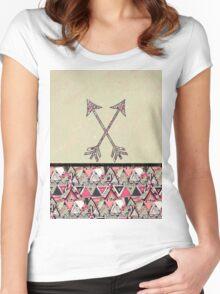 Retro Tribal Arrows Vintage Earth Aztec Pattern Women's Fitted Scoop T-Shirt