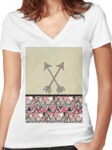 Retro Tribal Arrows Vintage Earth Aztec Pattern Women's Fitted V-Neck T-Shirt