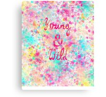Girly neon Pink Teal Abstract Splatter Typography Canvas Print