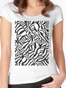 Modern Abstract Black White Zebra Stripes Pattern Women's Fitted Scoop T-Shirt