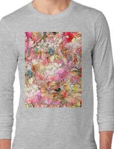 Colorful Watercolor Floral Pattern Abstract Sketch Long Sleeve T-Shirt