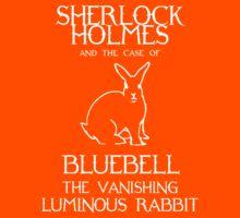 Sherlock Holmes and the case of Bluebell the vanishing luminous rabbit. Kids Tee