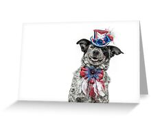 Patriotic Cattle Dog Greeting Card