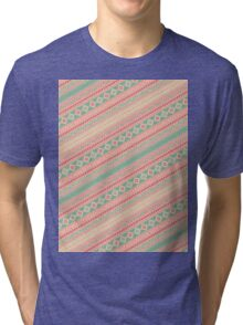 Retro Turquoise Pink Abstract Andes Aztec Pattern Tri-blend T-Shirt