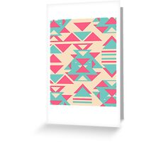 Modern Pink Turquoise Abstract Geometric Triangles Greeting Card