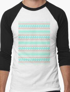 Trendy Mod Bright Teal Pink Abstract Aztec Pattern  Men's Baseball ¾ T-Shirt