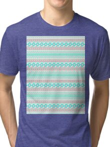 Trendy Mod Bright Teal Pink Abstract Aztec Pattern  Tri-blend T-Shirt