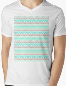 Trendy Mod Bright Teal Pink Abstract Aztec Pattern  Mens V-Neck T-Shirt