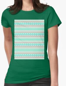 Trendy Mod Bright Teal Pink Abstract Aztec Pattern  Womens Fitted T-Shirt