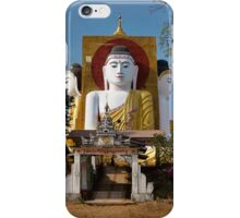 four sitting Buddhas 30 metres high looking in four points of the compass at Kyaikpun Pagoda iPhone Case/Skin