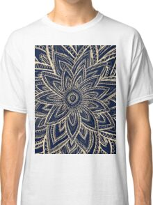 Cute Retro Gold abstract Flower Drawing on Black Classic T-Shirt