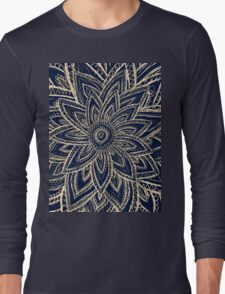 Cute Retro Gold abstract Flower Drawing on Black Long Sleeve T-Shirt
