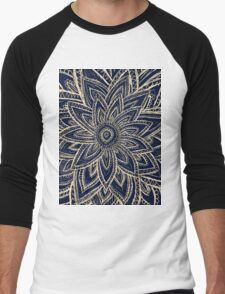 Cute Retro Gold abstract Flower Drawing on Black Men's Baseball ¾ T-Shirt