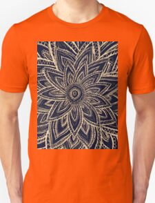 Cute Retro Gold abstract Flower Drawing on Black T-Shirt
