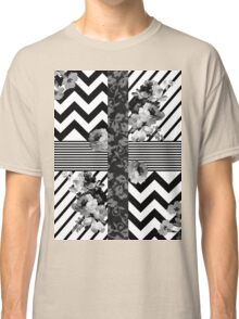 Trendy Black and White Floral Lace Stripes Chevron Classic T-Shirt