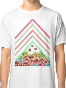 Modern Pink Teal Mint Green Chevron Floral Peonies Classic T-Shirt