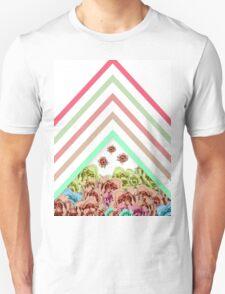 Modern Pink Teal Mint Green Chevron Floral Peonies T-Shirt