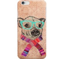Funny Cute Pig Illustration Teal Hipster Glasses iPhone Case/Skin