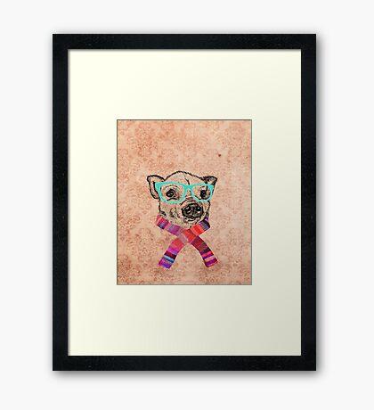 Funny Cute Pig Illustration Teal Hipster Glasses Framed Print