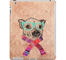 Funny Cute Pig Illustration Teal Hipster Glasses iPad Case/Skin