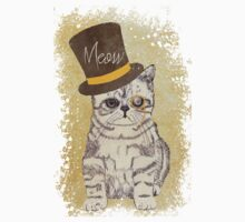 Funny Cute Kitten Cat Sketch Monocle and Top Hat One Piece - Long Sleeve