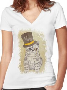 Funny Cute Kitten Cat Sketch Monocle and Top Hat Women's Fitted V-Neck T-Shirt