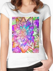 Colorful Vintage Floral Pattern Drawing Watercolor Women's Fitted Scoop T-Shirt