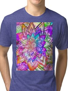 Colorful Vintage Floral Pattern Drawing Watercolor Tri-blend T-Shirt