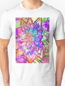Colorful Vintage Floral Pattern Drawing Watercolor T-Shirt