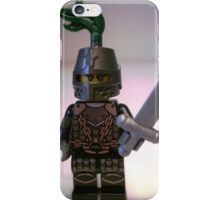 Dragon Knight Minifigure with Scale Mail with Chains, Helmet Closed, & green plume  iPhone Case/Skin