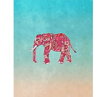 Whimsical Colorful Elephant Tribal Floral Paisley Photographic Print