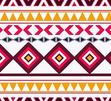 Red teal Aztec Tribal Diamond geometric Pattern by GirlyTrend