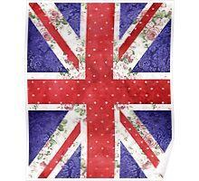 Vintage Red Polka Dots Floral UK Union Jack Flag Poster