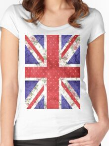 Vintage Red Polka Dots Floral UK Union Jack Flag Women's Fitted Scoop T-Shirt