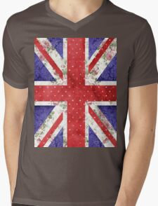 Vintage Red Polka Dots Floral UK Union Jack Flag Mens V-Neck T-Shirt