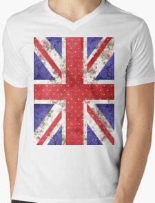 Vintage Red Polka Dots Floral UK Union Jack Flag Mens V-Neck T-Shirt