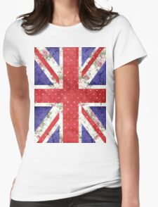 Vintage Red Polka Dots Floral UK Union Jack Flag Womens Fitted T-Shirt