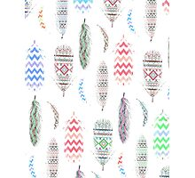 Feathers Pink Tribal Aztec Teal Chevron Pattern Photographic Print