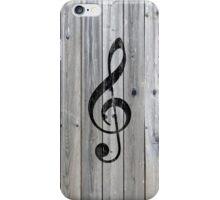 Vintage black music note Treble Clef gray wood iPhone Case/Skin