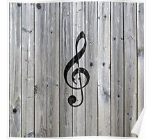 Vintage black music note Treble Clef gray wood Poster