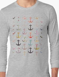Vintage retro sailor girly floral nautical anchors Long Sleeve T-Shirt